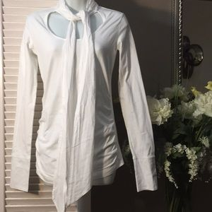 White along Sleeved Top with Front Tie